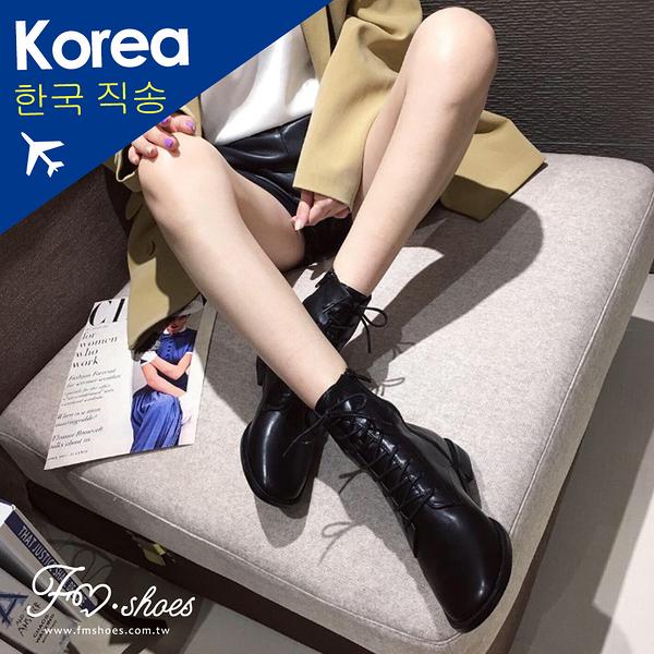 靴.韓-繫帶軟革方頭軍靴-FM時尚美鞋-韓國精選.Fabulous