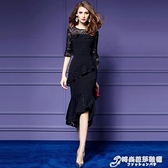 春秋新品女裝通勤復古時尚喇叭袖顯瘦蕾絲洋裝不規則中長裙 時尚