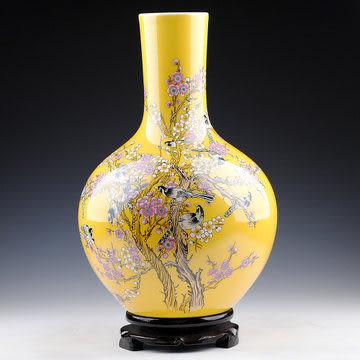 陶瓷器 黃色喜上眉梢天球花瓶