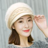毛帽  兔毛帽女秋冬天加絨加厚保暖帽護耳帽針織貝雷帽毛線帽  6色可選 快速出貨 好康免運