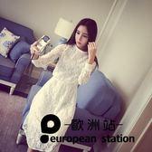 洋裝/長袖蕾絲連身裙女中長款純色a字裙「歐洲站」