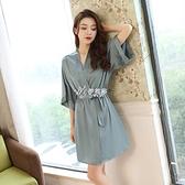 性感睡衣女夏冰仿真絲綢薄款睡袍單件韓版寬鬆新娘晨袍