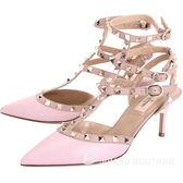 VALENTINO ROCKSTUD 鉚釘繫帶尖頭高跟鞋(粉紅) 1520451-05