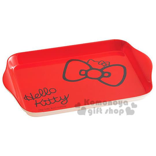 〔小禮堂〕Hello Kitty 美耐皿托盤《紅.蝴蝶結.半大臉》增添用餐樂趣 4973307-36763