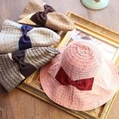 漁夫帽-蝴蝶結沙灘戶外休閒時尚拼色條紋生日情人節禮物女遮陽帽4色73eq19【時尚巴黎】