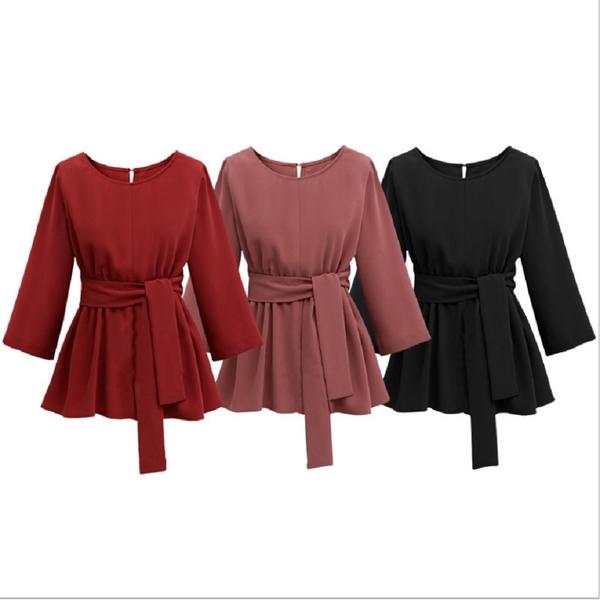 (現貨+預購 RN-girls)- 加大上班族好搭純色圓領束帶七分袖上衣