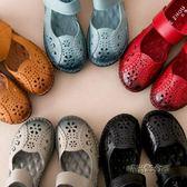 洞洞鞋包頭鏤空女鞋夏舒適軟底防滑平底中老年人涼鞋女媽媽款「時尚彩虹屋」