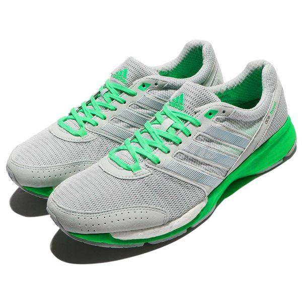 【四折特賣】 adidas 慢跑鞋 Adizero Ace 7 灰 綠 白底 BOOST 輕量透氣 運動鞋 男鞋【PUMP306】 M29475