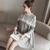 孕婦裝 (長袖連身裙)-木耳邊立領蕾絲拼接女連衣裙73mx12【時尚巴黎】