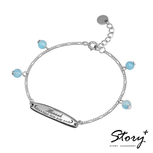 Story飾品-祝福Blessing(媽咪英文款)-親子刻字銀飾手鍊