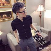 2019新款短袖襯衫韓版社會襯衣修身潮流帥氣衣服 QW2910『夢幻家居』