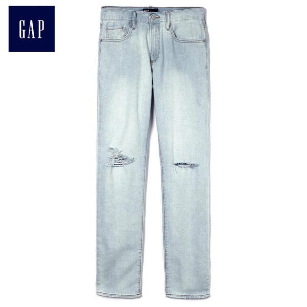 Gap男裝 時尚破洞牛仔長褲 471716-水洗藍