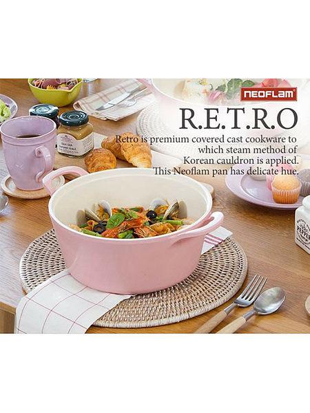 (12件組)限量款 [韓國NEOFLAM] Retro系列 陶瓷不沾浪漫粉紅鍋