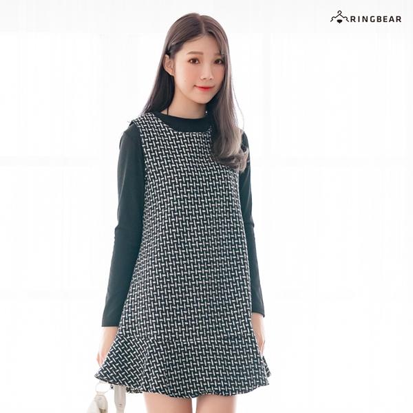 氣質洋裝--優雅編織撞色格紋A字荷葉裙針織毛呢真兩件連衣裙(黑L-3L)-A385眼圈熊中大尺碼