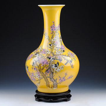 陶瓷器 黃色喜上眉梢粉彩花瓶