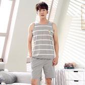 夏季男士無袖睡衣男式夏天純棉背心短褲加肥加大碼薄款短袖家居服 依凡卡時尚
