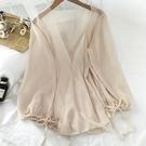防曬衣 新款春裝防曬衣襯衫女爆款時尚小衫早春開衫夏雪紡透紗上衣-Ballet朵朵