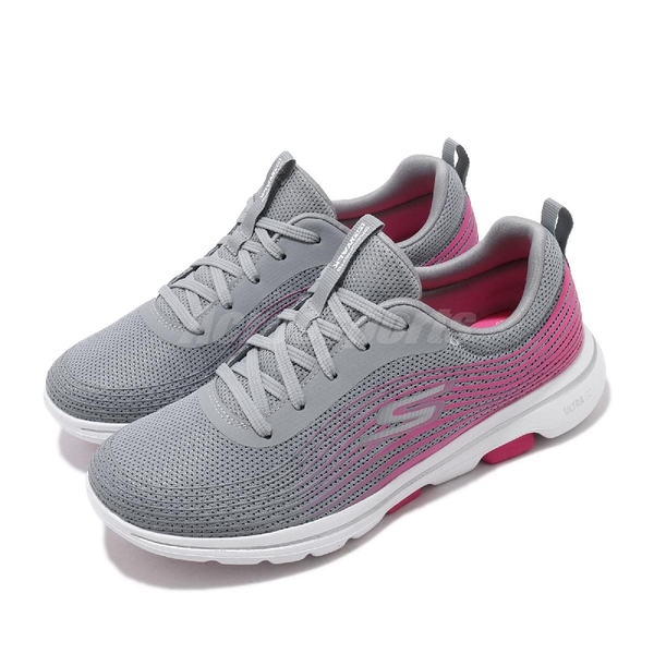 Skechers 休閒鞋 Go Walk 5-Exotic 灰 粉紅 女鞋 健走鞋 舒適緩震 運動鞋【ACS】 124009GYPK