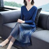 中尺碼長袖洋裝 歐洲秋季女裝兩件套連身裙2019新款輕熟風針織氣質毛衣配裙子套裝