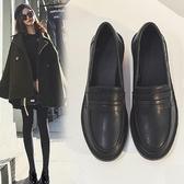 小皮鞋女英倫風高跟鞋新款秋鞋百搭黑色一腳蹬樂福鞋粗跟單鞋 蜜拉貝爾