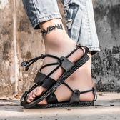 快速出貨-羅馬涼鞋2018夏季新品皮質復古羅馬涼鞋男士個性時尚沙灘鞋正韓百搭潮牌