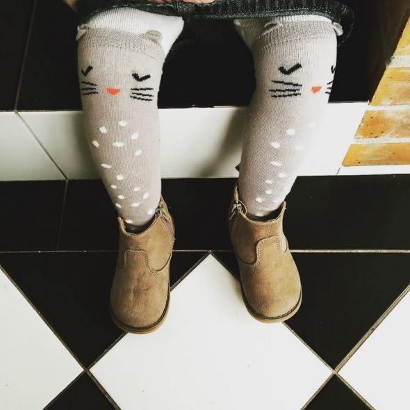 Korea Imports 正韓 貓咪灰色膝上襪 Shy Cat Knee Socks