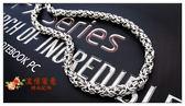 日韓版歐美款霸氣朋克嘻哈手工編織復古粗鈦鋼男女項鏈龍骨蛇骨鏈  巴黎街頭