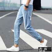 『潮段班』【HJ021804】刷白磨破鬆緊繩直筒束口丹寧牛仔長褲