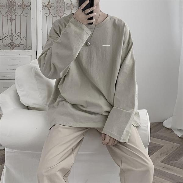 長袖T恤秋季新款港風長袖T恤男潮牌潮流嘻哈情侶百搭寬鬆打底衫上衣