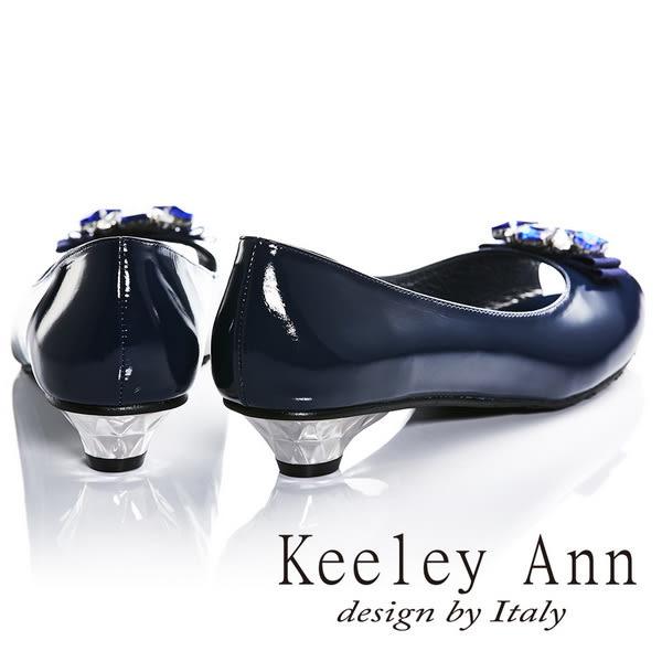 ★2016秋冬★Keeley Ann高貴質感漆皮全真皮鑽飾低跟魚口鞋(藍色)