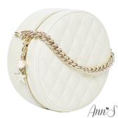 Ann'S小香風-頂級牛皮星球綴飾菱格立體小圓包-米白