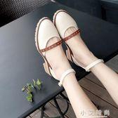 涼鞋 涼鞋女夏季韓版百搭粗跟包頭女鞋子學生中跟一字扣羅馬鞋 小艾時尚