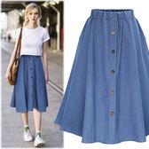 牛仔裙 新款胖mm超大碼顯瘦高腰牛仔裙半身裙女加大LJ2185『夢幻家居』