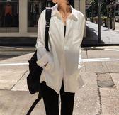 韓貨 舒適 緞面 雙層翻領 個性 百搭 素色 襯衫 MS J~T1997