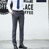 西裝褲 - 正韓男士休閒商務中青年薄款西裝褲純黑色正裝長褲子【聖誕節快速出貨八折】