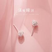 新款上架 s925銀鏤空繞絲球日常耳釘小巧簡約清新可愛學生耳環韓國女耳飾