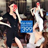 克妹Ke-Mei【ZT52629】SPICY辛辣尤物性感排釦腰圍帶開叉連身洋裝
