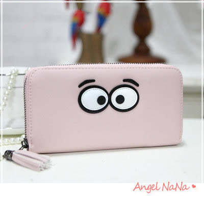皮夾女長夾 韓版流蘇 可愛大眼睛 手拿包(都有現貨) AngelNaNa SMA0161