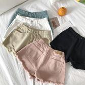 牛仔短褲女夏韓版寬鬆學生毛邊糖果色港味復古高腰熱褲子     芊惠衣屋