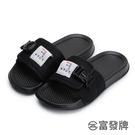 【富發牌】百搭全黑女款潮流拖鞋-黑 1PL127