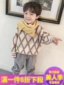 男童毛衣男童秋冬毛衣新款時尚格子兒童羊毛衫上衣韓版洋氣兒童線衣潮-『美人季』