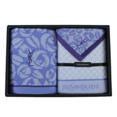YSL經典玫瑰花紋方巾毛巾禮盒(藍色)989206-5
