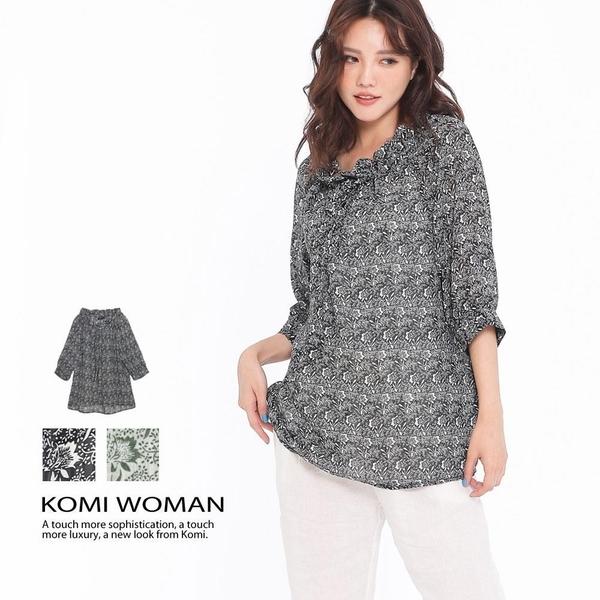 【南紡購物中心】KOMI-清新花朵綁帶雪紡襯衫‧二色