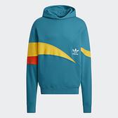 Adidas ORIGINALS TREFOIL STREAMLINE 男裝 長袖 帽T 撞色線條 棉 藍綠【運動世界】H46696