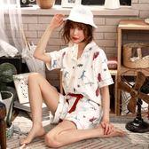 【熊貓】開襟睡衣女夏短袖純棉兩件套居家服