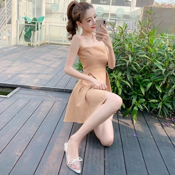 出清388 韓系性感一字領禮服短裙短袖洋裝