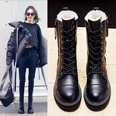 中筒靴 馬丁靴女2020新款冬季加絨加厚保暖棉鞋百搭羊皮中筒雪地靴 開春特惠