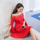 長袖洋裝311#秋冬一字領禮服酒會派對年會蕾絲連身裙 GDS6F-621-B紅粉佳人