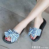 外穿拖鞋女 拖鞋女夏2018新款韓版時尚外穿條紋蝴蝶結厚底鬆糕一字拖沙灘涼鞋 米蘭街頭