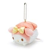〔小禮堂〕美樂蒂 壽司絨毛玩偶娃娃吊飾《粉橘》掛飾.鑰匙圈 4901610-13512